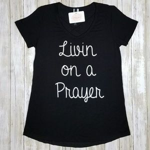 Simply Soigne Boutique Tops - Black Criss Cross Livin on a Prayer Top